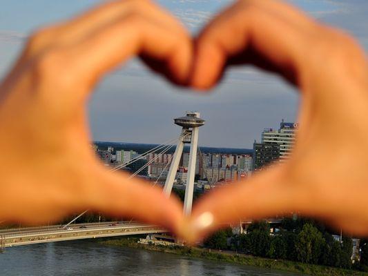 Bratislava UFO Bridge Love