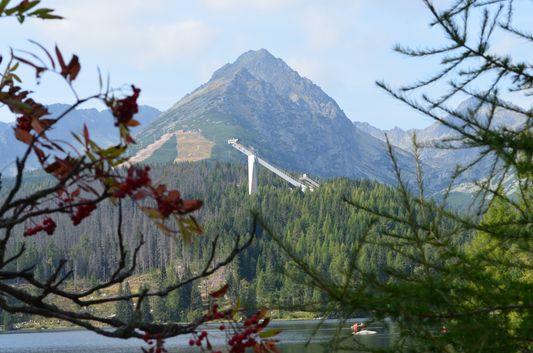 Strbske pleso lake in the High Tatras with Solisko behind