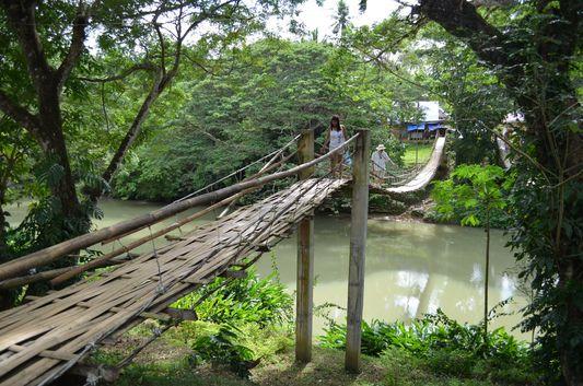 hanging bridge in Loboc in Bohol