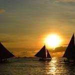 sunset at White Beach in Boracay