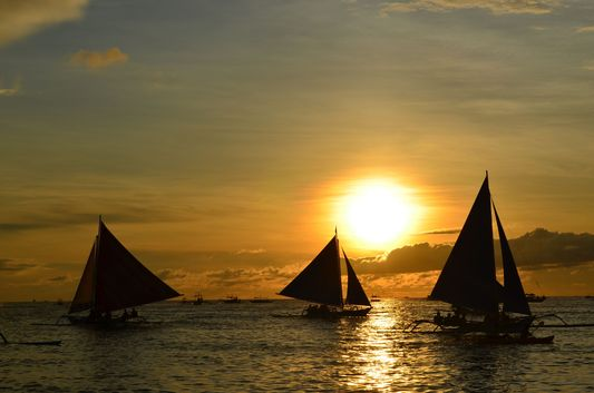 sunset at White Beach in Boracay