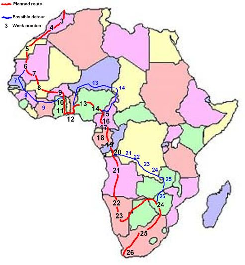 Tour map across Africa