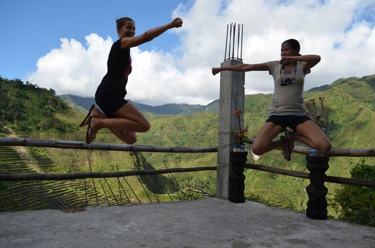 Mica and me jumping in Batad rice terraces