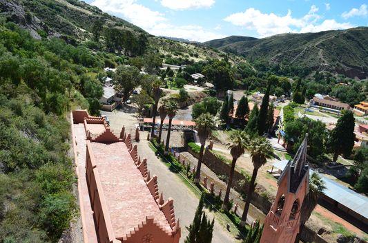 the view of the Gothic Church Tower of Castillo de la Glorieta