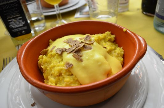 polenta with cheese and truffles