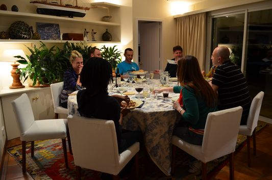 Having dinner Lee Pennington cooked for us in Sa Cista luxury villa