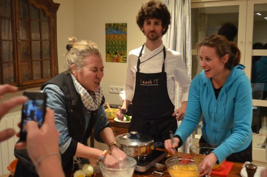 Lola, Jordi and Leah cooking