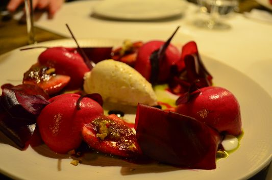 beetroot specialty in Compartir restaurant in cadaques
