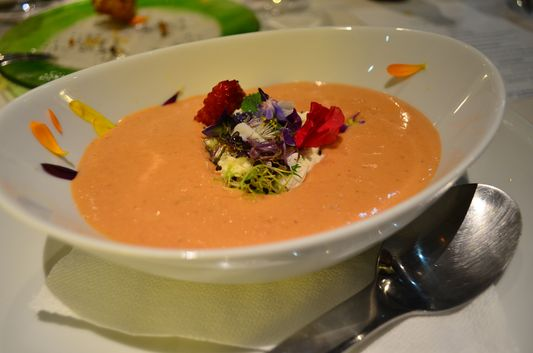cold tomato and strawberry soup in La Calendula restaurant