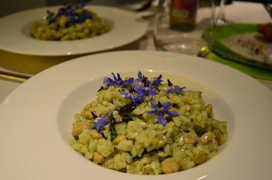 mint risotto with beans in La Calendula