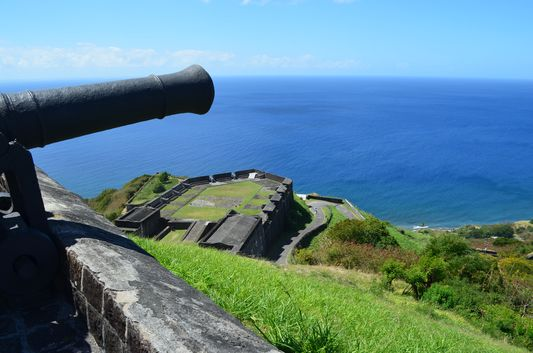 view of the sea from Brimstone Hill Fortress St. Kitts