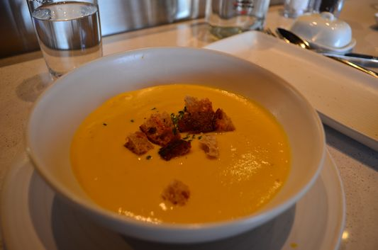 sweet potato soup at Les Labours Hotel La Ferme
