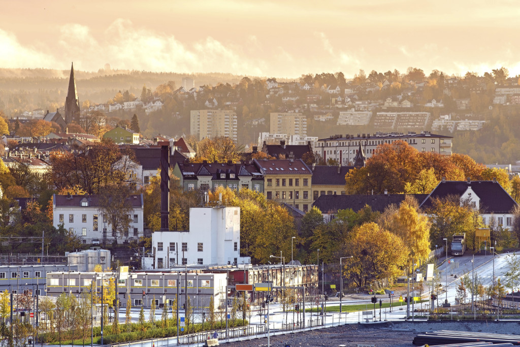 View of Oslo city from roof top of the opera