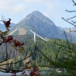 Strbske pleso lake in High Tatras with Solisko behind
