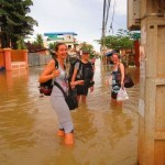 me and Monika in flooded Siem Reap